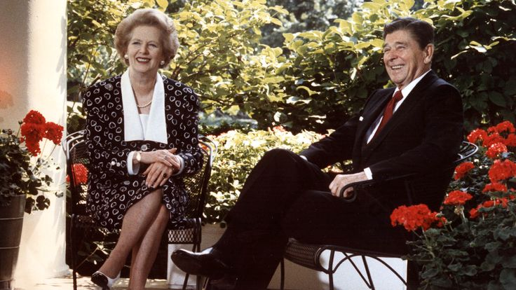 Margaret Thatcher and Ronald Reagan outside the Oval Office