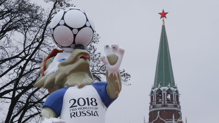 The official mascot for the World Cup strikes a pose in Moscow