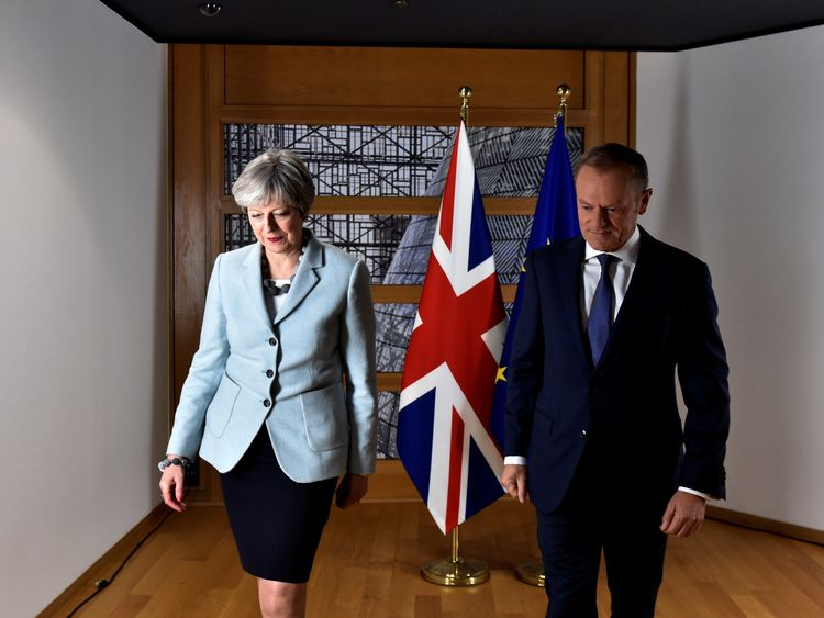 Theresa May and European Council President Donald Tusk