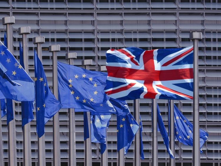 The UK flag is flying in a different direction to those of the EU