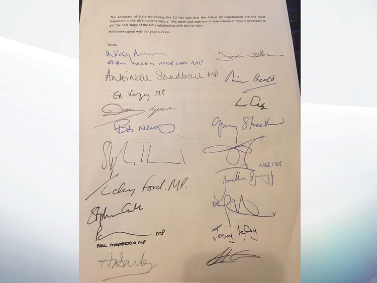 Letter from Tory MPs to Theresa May