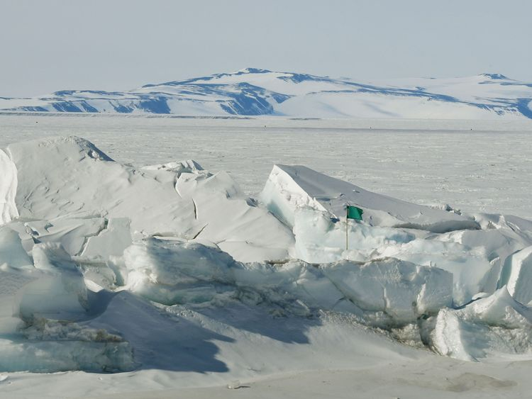 Much of the Ross Sea is completely frozen during the winter