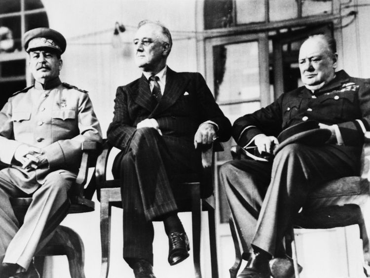 Joseph Stalin, Franklin Roosevelt and Winston Churchill