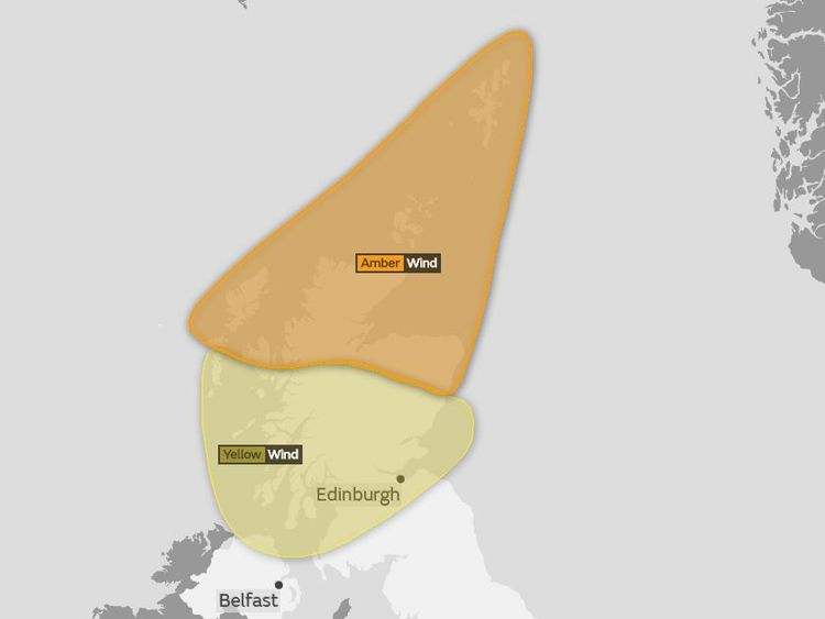 An amber warning is in place for much of northern Scotland. Pic: Met Office