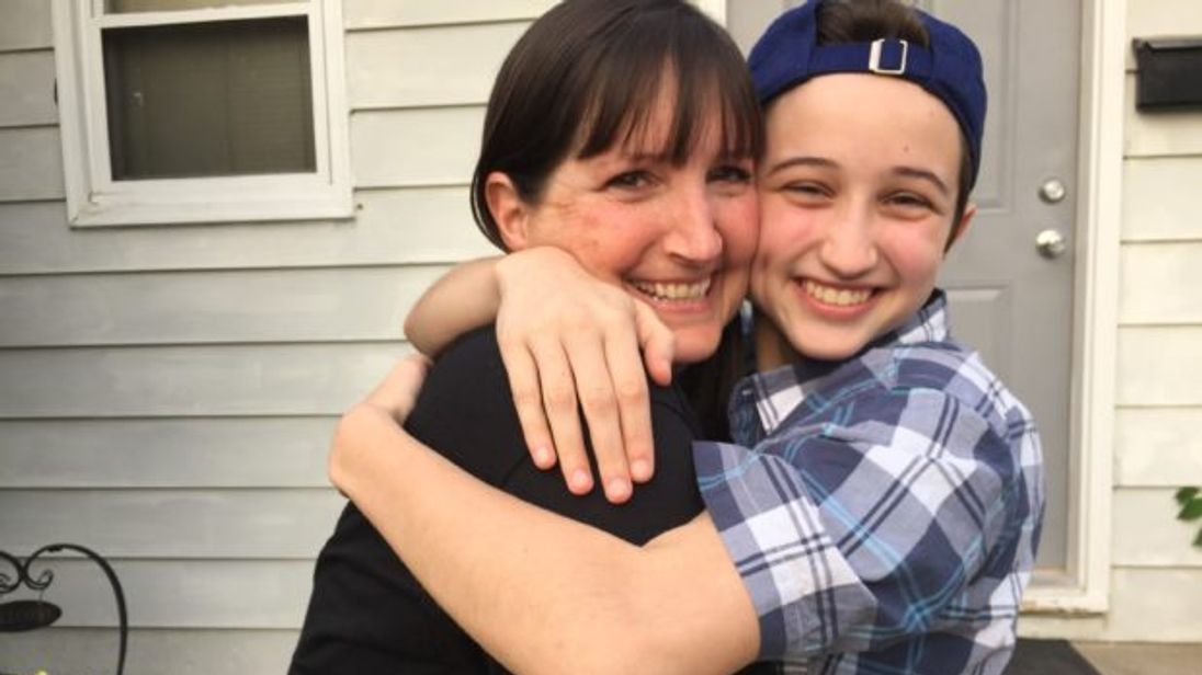 Ash Whitaker, right, with his mother Melissa. Pic: Transgender Law Centre