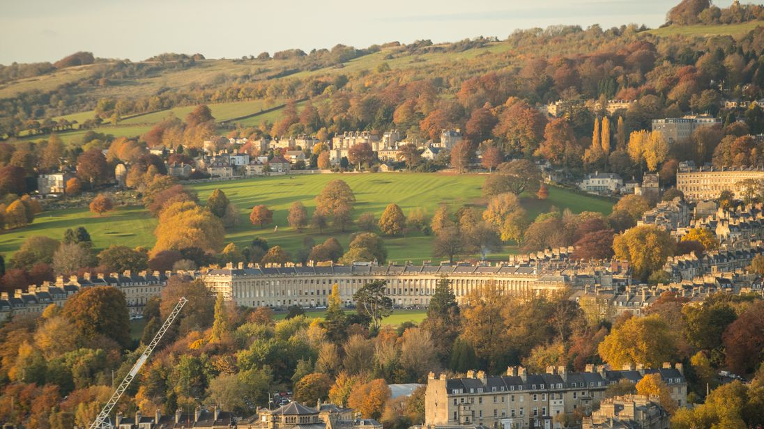 The historic city of Bath pictured in all its autumn glory