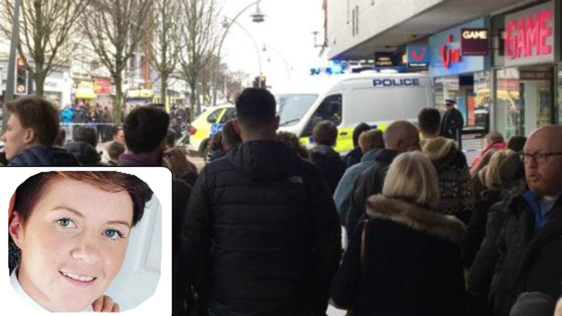 Crowds gather around a police cordon in Chapel Street (Credit: Luke R Chandley) and (inset) Cassie Hayes, who died following an attack in a branch of Tui