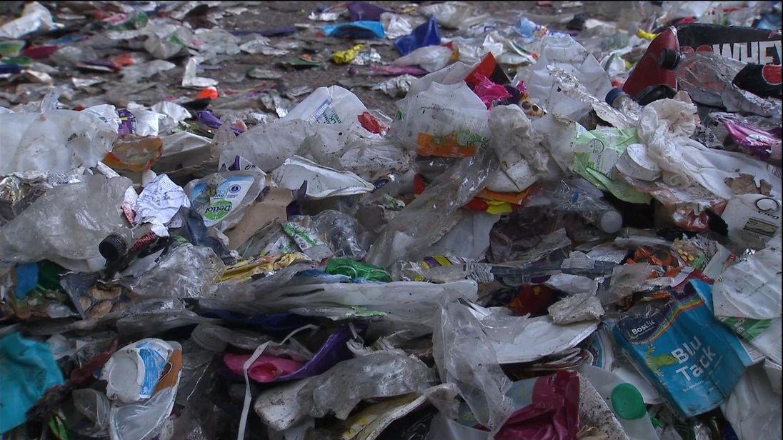 A recycling plant processes thousands of single use plastics.
