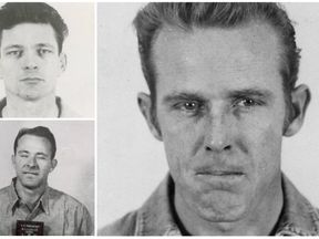 The three escapees: Frank Morris (top left), Clarence Anglin (bottom left) and John Anglin. Pics: FBI