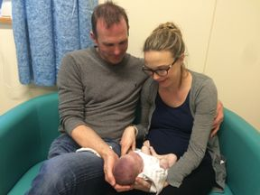 Sarah and Jack with their baby after she was born dead