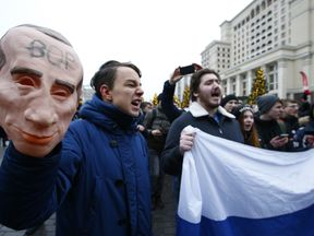 Protesters are turning out across Russia against Vladimir Putin
