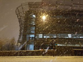 Northumbria University in the early hours of Thursday as snow fell. Pic: Andrew Shaw