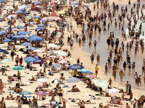 Sun-worshippers basking on Sydney's Bondi Beach