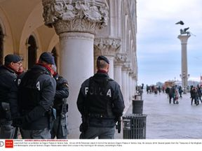 Police outside Doge's Palace in Venice, where heist took place. Pic: REX/Shutterstock