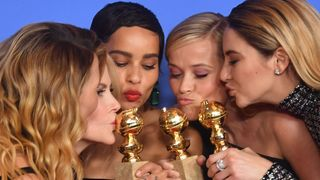 (L-R) Actresses Laura Dern, Nicole Kidman, Zoe Kravitz, Reese Witherspoon and Shailene Woodley pose with the Best Television Limited Series or Motion Picture Made for Television throphy for 'Big Little Lies'during the 75th Golden Globe Awards on January 7, 2018, in Beverly Hills, California. / AFP PHOTO / Frederic J. BROWN (Photo credit should read FREDERIC J. BROWN/AFP/Getty Images)