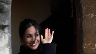 Meghan Markle greets well-wishers during a visit to Cardiff Castle