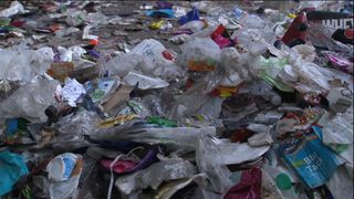 A recycling plant processes thousands of single use plastics.