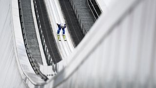 Norway's Daniel Andre Tande takes the start for his training jump of the ski jumping event in Garmisch-Partenkirchen, southern Germany