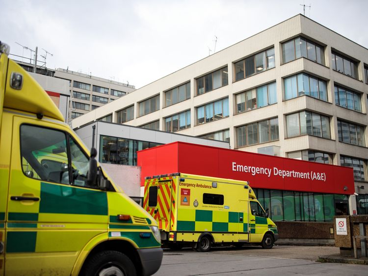 Ambulances sit outside the Accident and Emergency department of Guy's and St Thomas' Hospital on January 3, 2018 in London, England. Hospitals in the UK have been advised to postpone all non-urgent operations until the end of January as the NHS struggles to cope with the surge in patients over the winter period