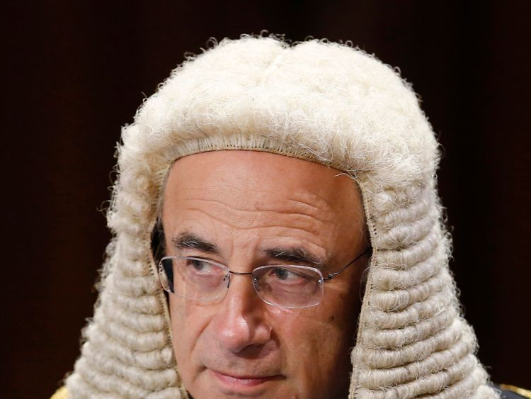 Lord Justice Sir Brian Leveson before the State Opening of Parliament, in the House of Lords at the Palace of Westminster in London.