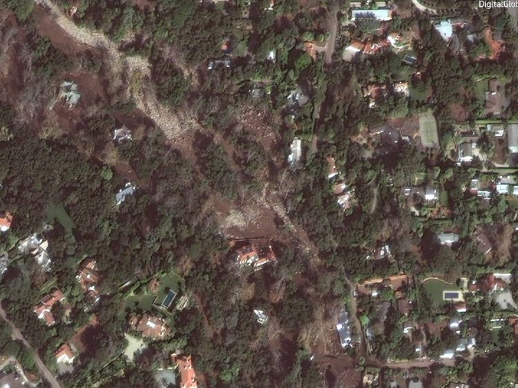 This aerial image shows the extent of the mud