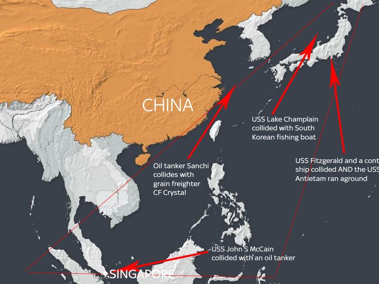 A map showing just some of the ship collisions in seas around China over the last few years