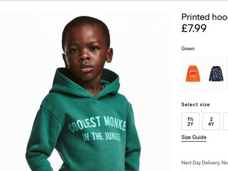 The advert for a children's hoodie