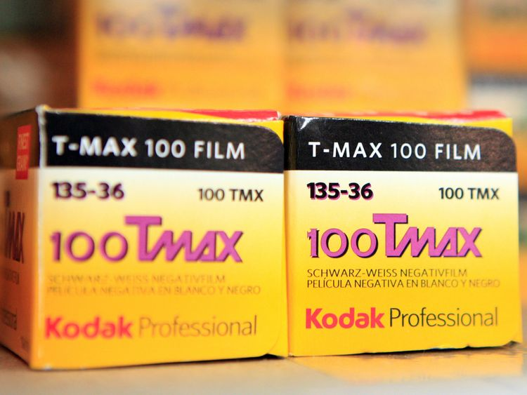 Rolls of Kodak TMax film are seen on a camera store shelf in New York January 5, 2012