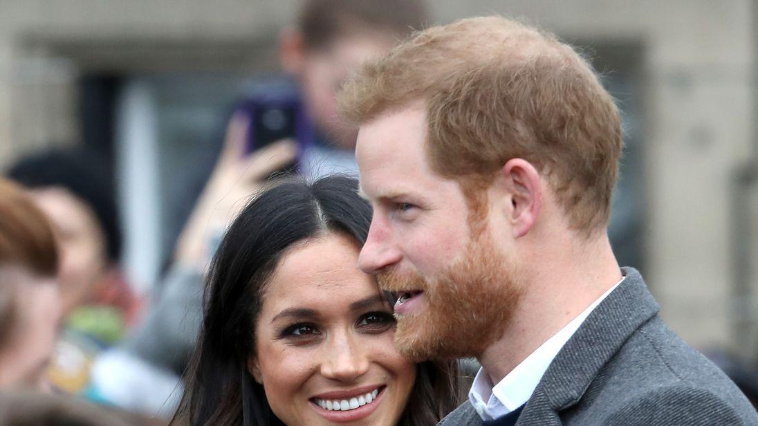 Prince Harry and Meghan Markle arrive to Edinburgh Castle on February 13, 2018 in Edinburgh, Scotland.