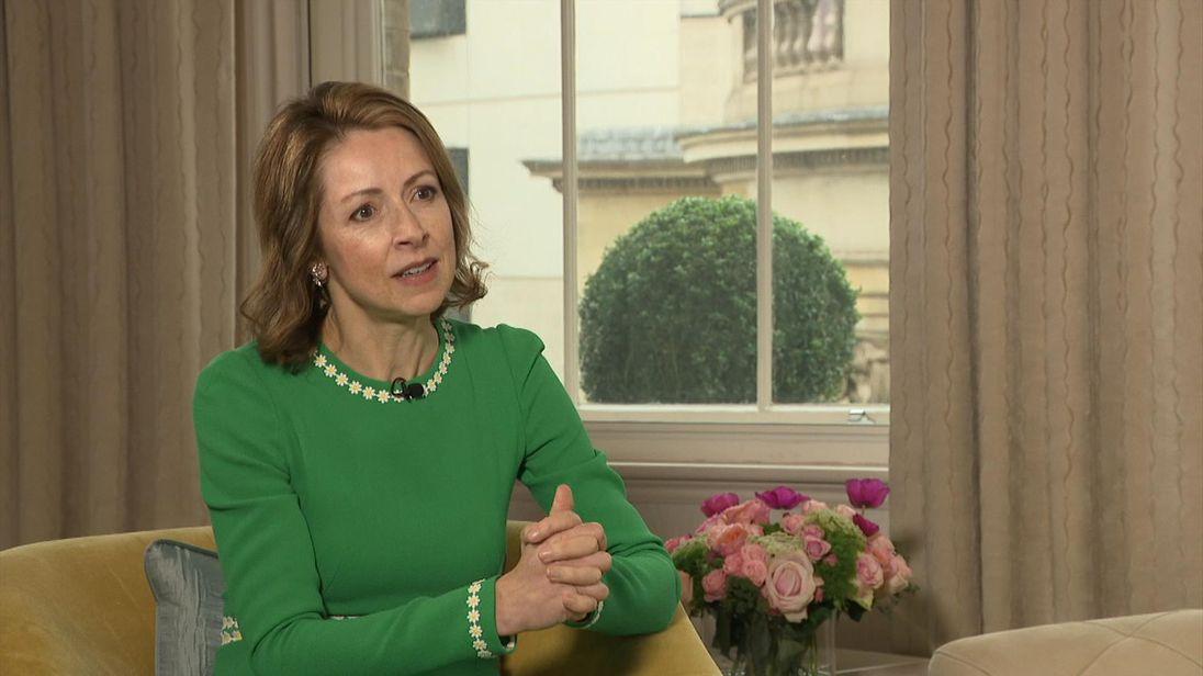 Dame Helena Morrissey speaking to Kay Burley