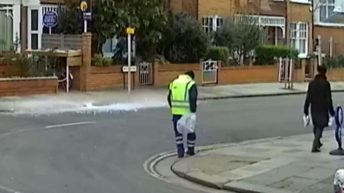 Ice block falls from sky in London
