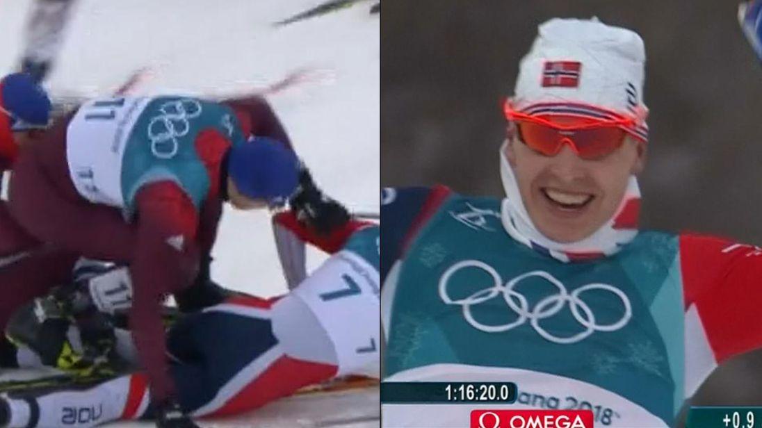 Norway Simen Hegstad Krueger won gold in the men's Olympic skiathlon despite breaking a pole in an early crash. Pic: BBC