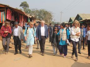 British Foreign Secretary Boris Johnson (C) walks inside a Rohingya refugees camp in Bangladesh's Cox's Bazar district on February 10, 2018. Johnson visited camps for Rohingya refugees who have fled from Myanmar, on his second day of a two-day visit to Bangladesh. / AFP PHOTO / - (Photo credit should read -/AFP/Getty Images)