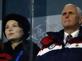 US Vice President Mike Pence and North Korea's Kim Jong Un's sister Kim Yo Jong at the opening ceremony of the 2018 Winter Olympics