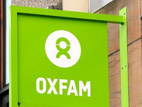 The logo on the front of an Oxfam bookshop is photographed in Glasgow on February 10, 2018