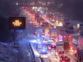 Traffic on the M80 Haggs in Glasgow