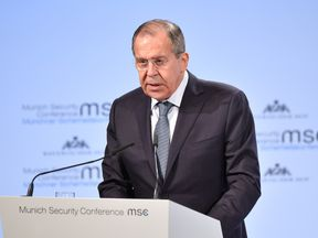 Russian Foreign Minister Sergey Lavrov delivers a speech at the 2018 Munich Security Conference on February 17, 2018 in Munich, Germany. The annual conference, which brings together political and defense leaders from across the globe, is taking place under heightened tensions between the USA, together with its western allies, and Russia