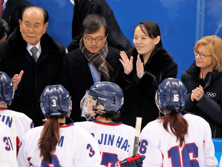 Kim Yo Jong with the Korean women's ice hockey team