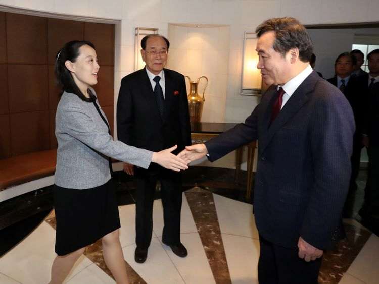 Kim Yo Jong, the sister of North Korea's leader Kim Jong Un, is greeted by South Korea's Prime Minister Lee Nak-yeon
