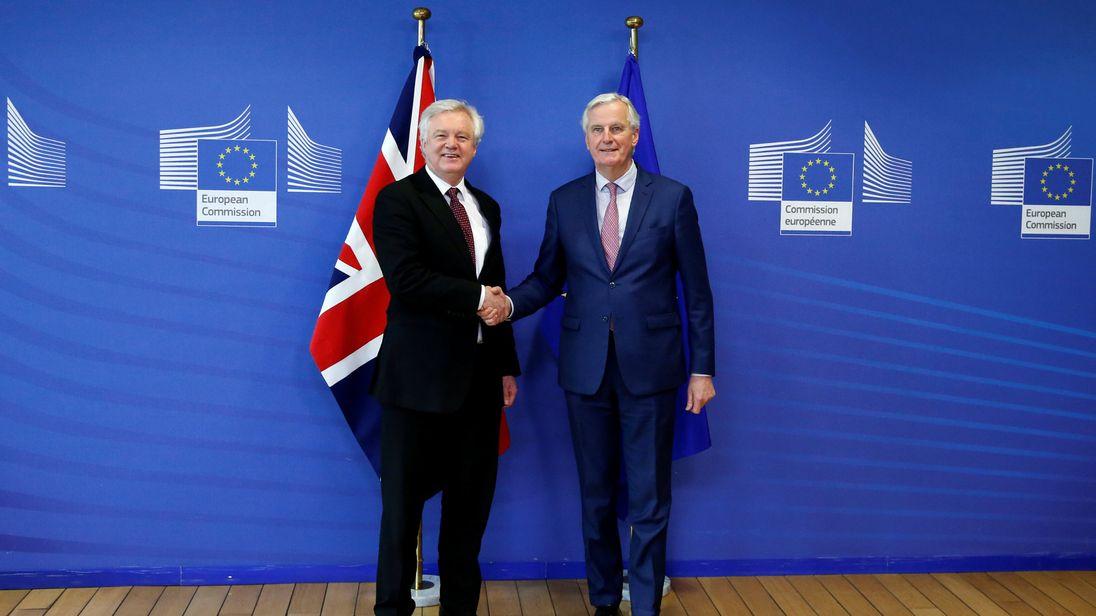 David Davis and European Union's chief Brexit negotiator Michel Barnier