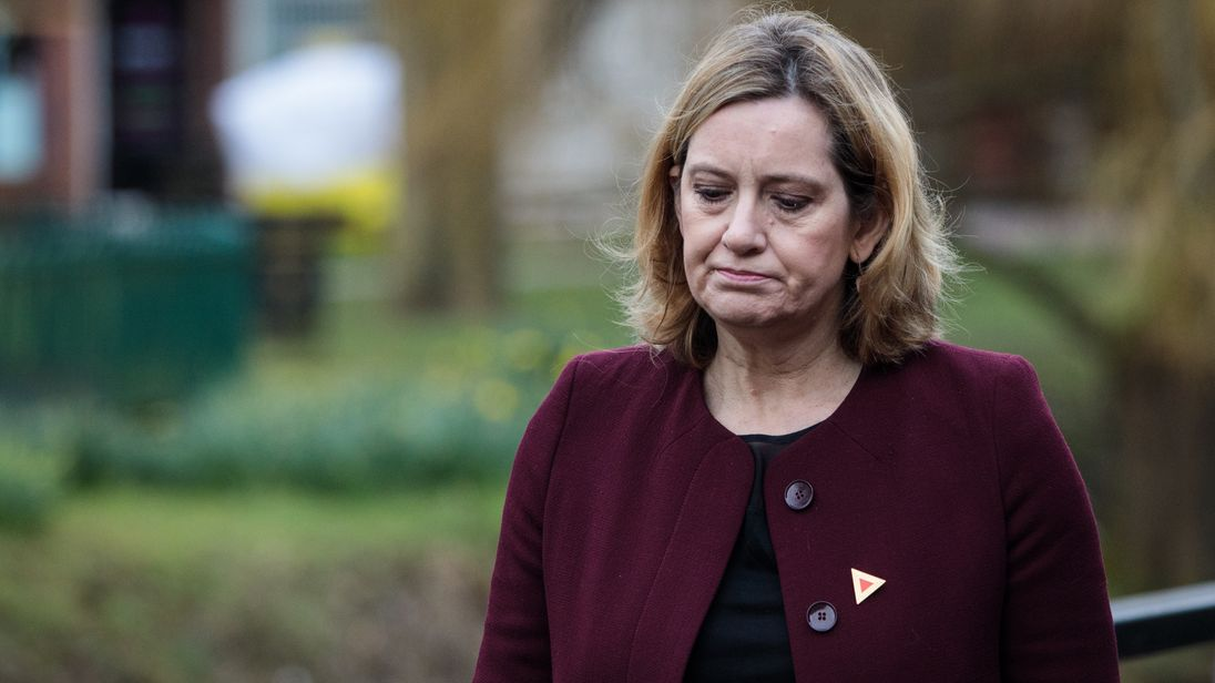 Home Secretary Amber Rudd visits the scene connected to the Sergei Skripal nerve agent attack