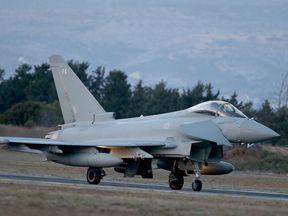 A RAF Typhoon arrives at RAF Akrotiri to begin operations on December 3, 2015 in Akrotiri, Cyprus