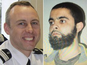 Arnaud Beltrame (L) offered himself up to Redouane Lakdim (R) in exchange for the final hostage