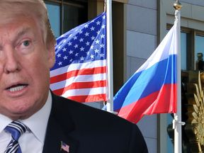 Donald Trump in front of a Russian Embassy
