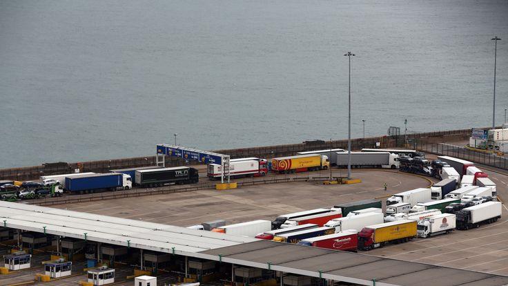 Lorries at sea port