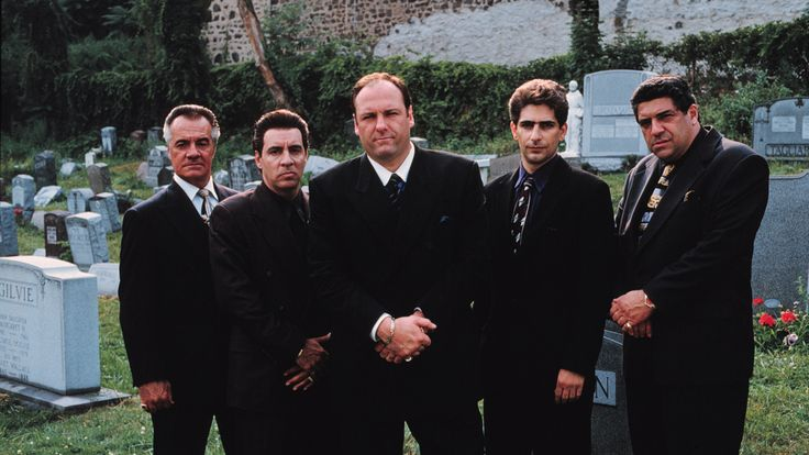 Tony Soprano, played by the late James Gandolfini, with his crew in an early publicity shot from the TV series