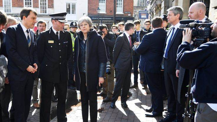 Theresa May visits the city where former Russian intelligence officer Sergei Skripal and his daughter Yulia were poisoned