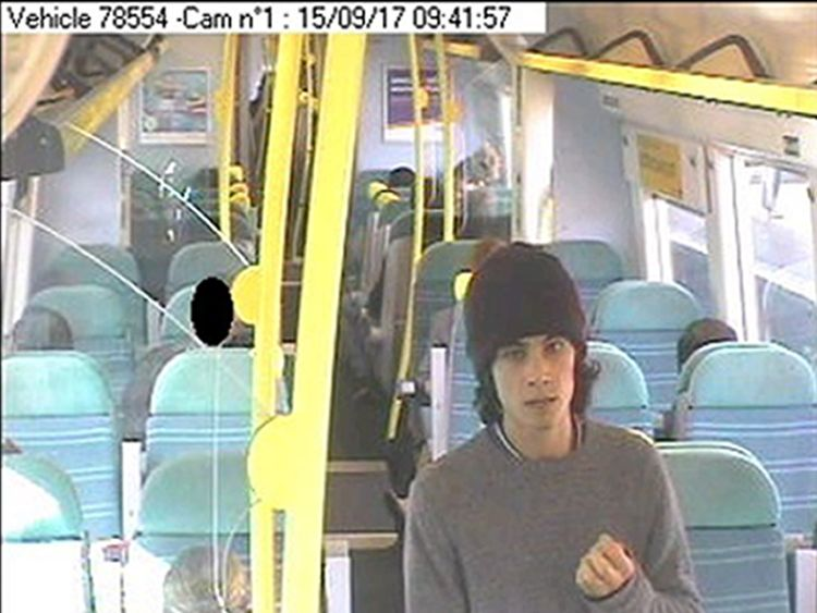 Accused Ahmed Hassan on a train to Brighton after the attack
