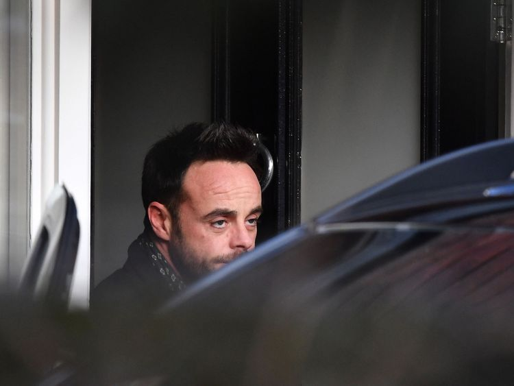 Ant McPartlin was pictured leaving a house in west London on Wednesday