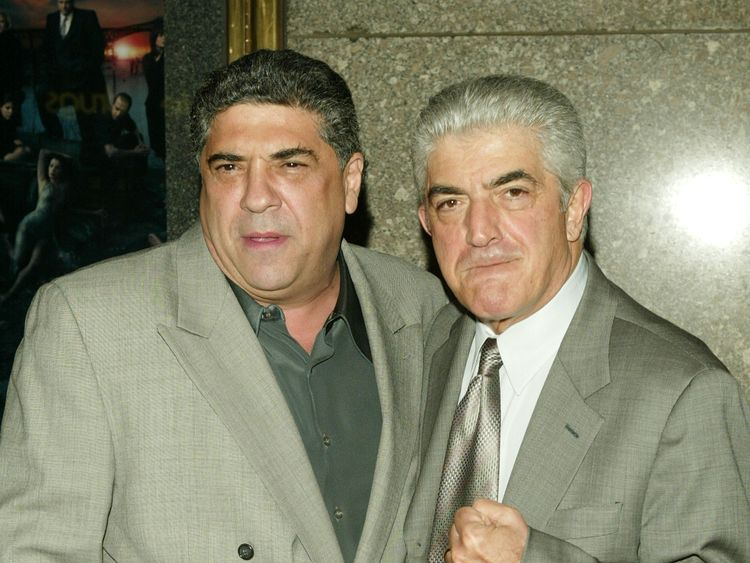 Frank Vincent (R), who died in 2017, with Vincent Pastore at a Sopranos premiere in 2004